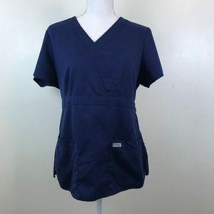 Grey's Anatomy Navy Blue Scrub Top Size Medium